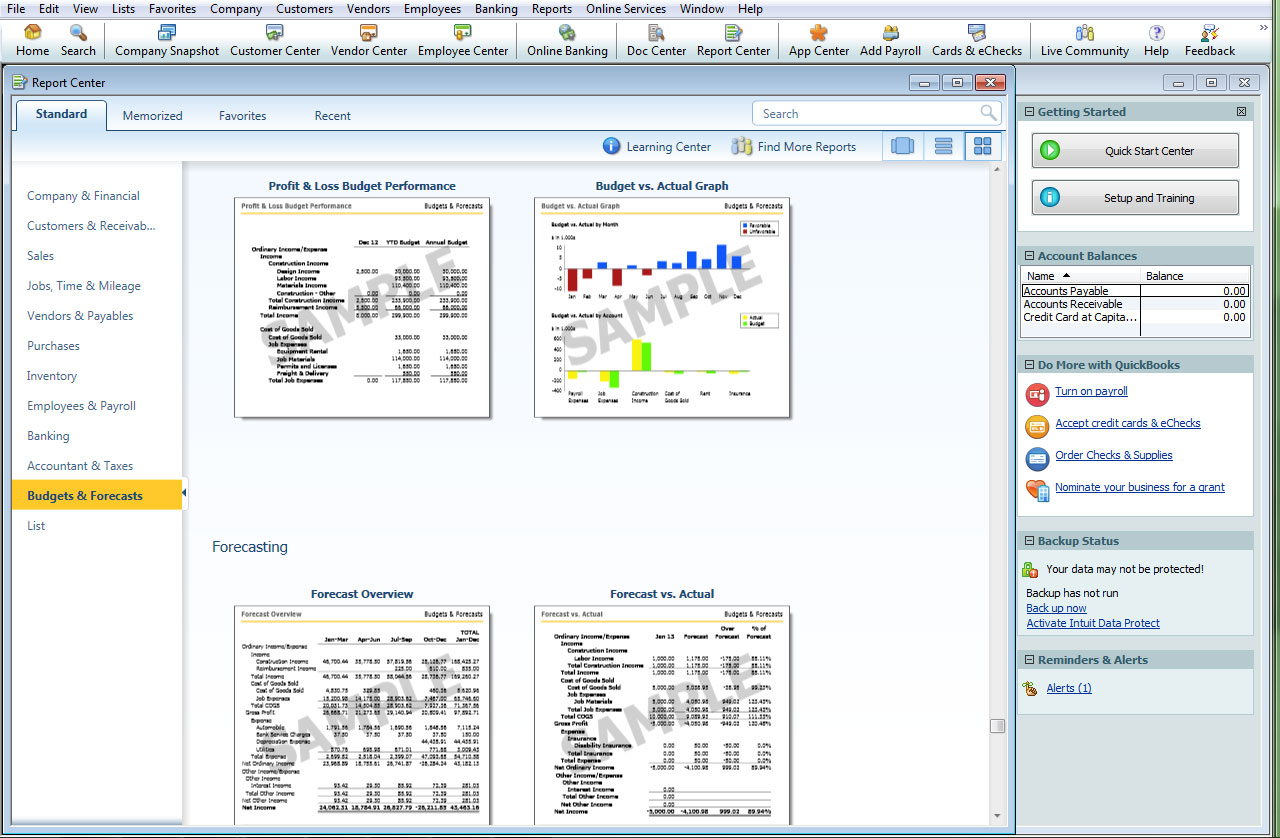 QuickBooks Desktop Premier gives you over 150 industry-specific reports from all facets of the bookkeeping software. These include basic financial, sales, and tax reports in addition to more complex reports such as a budget overview, sales and expense forecast, inventory report, and Customer Snapshot that gives you an all-inclusive view of a customer's history with your company.