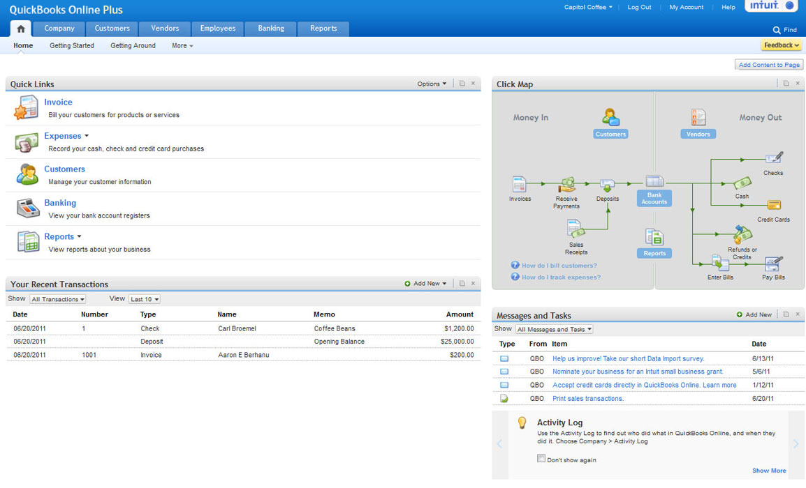 The QuickBooks Online Plus Home view gives you a simplified view of all sections in the bookkeeping software which are denoted as icons and connected with arrows that show you which accounts feed into others. The Online software home page also has sections that allow you to easily view your recent transactions and leave messages for yourself and other users.